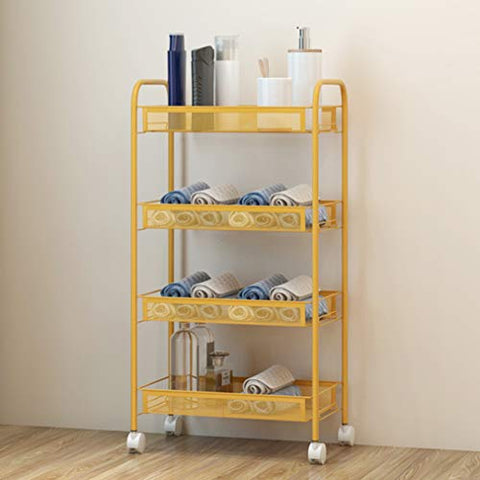 HORV Metal Rolling Cart, Utility Cart, Bathroom Cart, Kitchen Cart with Adjustable Shelves, Hair Salon Service Trolley, 3-Tier Storage Trolley with Casters, Easy Assembly