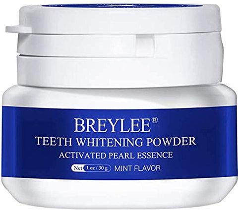 Teeth Whitening Powder BREYLEE Teeth Brightening Powder with Pearl Essence, Baking Soda for Removing Stain Caused by Coffee Wine Smoking Whitening Yellow Teeth Keeping Oral Fresh(30g, 1.05 oz)