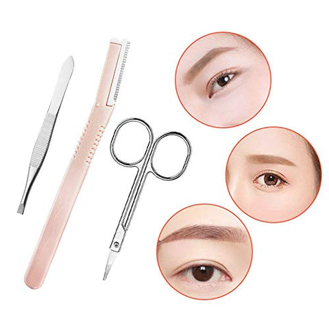 Xzan 10-in-1 Eyebrow Shaping Set Scissors Eyelash Curler Eyebrow Razor Eyebrow Comb Scissors Set