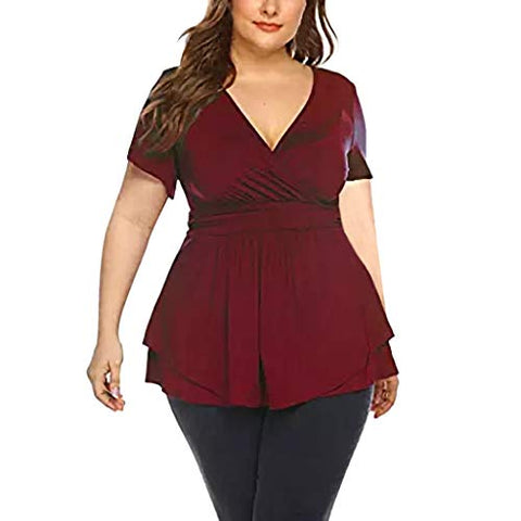 haoricu Womens Plus Size Tops V Neck Wrap Short Sleeve Shirts Casual Loose Top Tunic Blouses Soft Comfortable Bottoming Shirt Wine