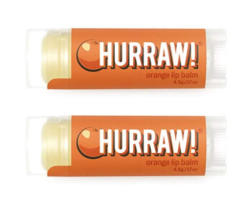 Hurraw Orange Lip Balm, 2 Pack ?? Organic, Certified Vegan, Cruelty and Gluten Free. Non-GMO, 100% Natural Ingredients. Bee, Shea, Soy and Palm Free. Made in USA