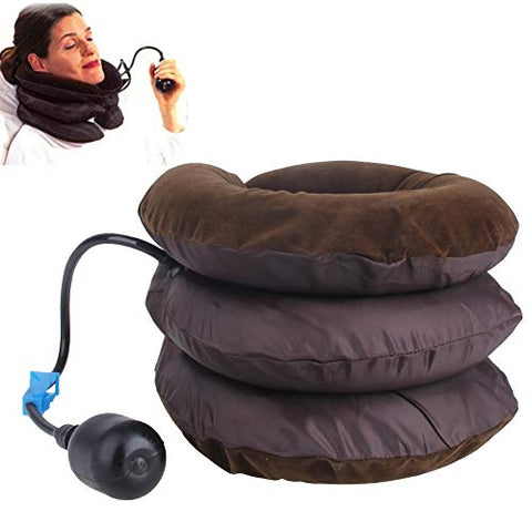 Inflatable Air Cervical Neck Traction Device Soft Head Back Shoulder Neck Ache Massager Headache Pain Relieve Relaxation Brace (Coffee) Non-toxic (Color : Coffee)
