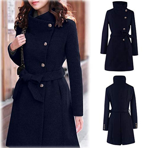 WUAI-Women Winter Lapel Wool Trench Coat Jackets Thick Warm Long Pea Coat Outerwear Overcoat ?Navy,Large