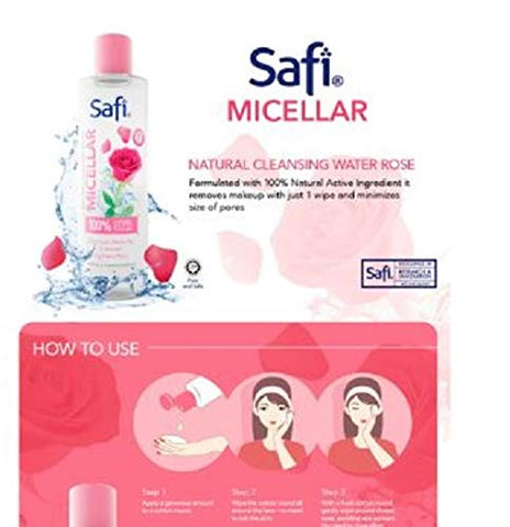 #MG SAFI Micellar Natural Cleansing Water Rose 150ml -This makeup remover helps: Remove makeup and impurities with just 1 SWIPE Tighten Pores