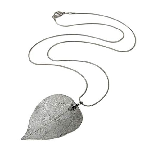 Yalice Natural Real Leaf Necklace Chain Long Filigree Necklaces Jewelry for Women and Girls (Silver)