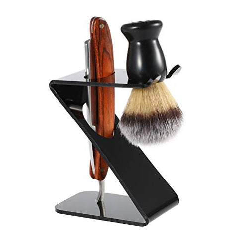 Yardwe Shaving Brush Stand Acrylic Razor Brush Holder Beard Brush Holder Men's Cleanser Set