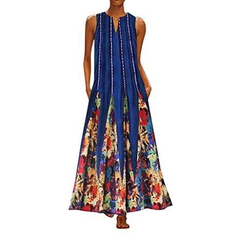 TEVEQ Women Maxi Dress Vintage Dresses for Women Plus Size Dress Sleeveless Floral Summer Boho Dress Green