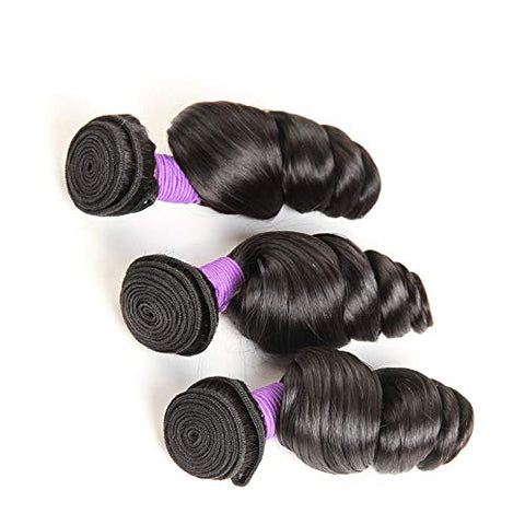 Hairpieces 12 Inch-26 Inch Brazilian Hair Loose Wave Human Hair Weave Bundles Virgin Hair Weft Extension Natural Black for Daily Use and Party (Color : Black, Size : 20 inch)