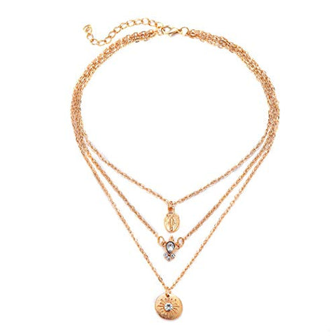 Jovono Gold Multilayered Jesus Sun Pendant Necklaces Fashion Crystal Necklace Chain Jewelry for Women and Girls