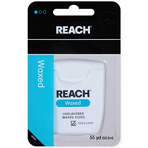 REACH Unflavored Waxed Dental Floss, 55 yds (Pack of 2)