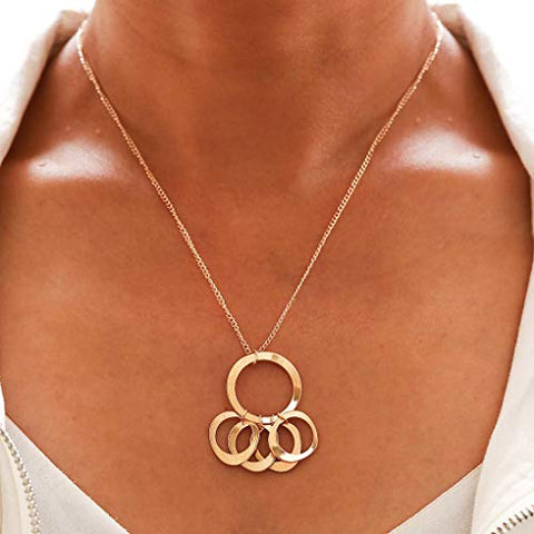 Yalice Simple Circle Round Pendant Necklace Chain Ring Necklaces Jewelry for Women and Girls (Gold)