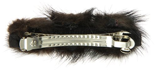 Caravan Automatic Barrette Wrapped And Decorated With Three (3) Furry Bushes And Three (3) Tiger-eyes