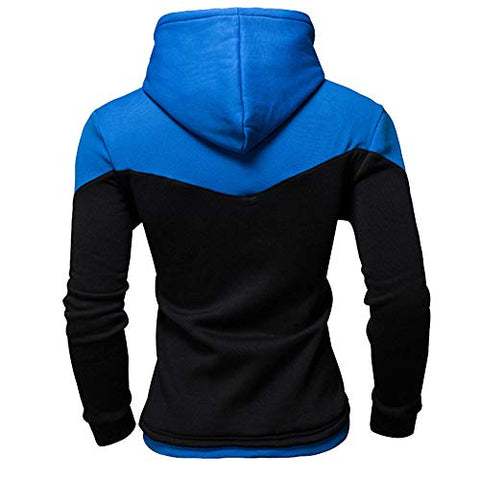 jin?Co Mens Casual Sportwear Classic Patchwork Long Sleeve Lightweight Hooded Sweatshirt Fashion Tops Pullover Black