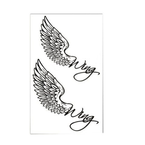Set of 2 Classic Simple Angel Wings Totem Body Tattoo Stickers Temporary Tattoos