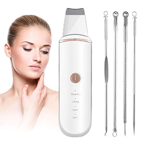 Skin Scrubber, Skin Spatula, Pores Cleanser Exfoliator Blackhead Remover Comedones Extractor for Facial Deep Cleansing with 4 Modes include 4 Pcs Acne Reml Tool