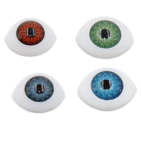 8 Pairs 14mm x 10mm Oval Doll Eyes Flat Hollow Back Plastic Eyes Puppet Doll Bear Craft Eyes Eyeballs Making DIY Supplies for Porcelain or Reborn Dolls Stuffed Animal Toys