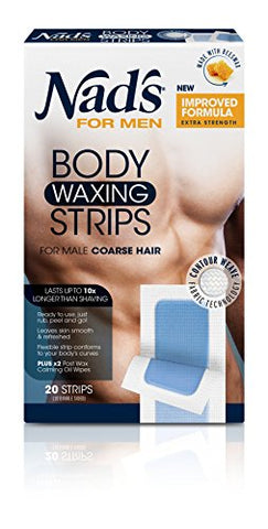 Nad's For Men Body Wax Strips   Wax Hair Removal For Men   At Home Waxing Kit With 20 Waxing Strips
