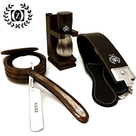 WOOD CUT THROAT 6 PC MEN'S STRAIGHT RAZOR SHAVING KIT LUXURY GIFT SET USA SELLER