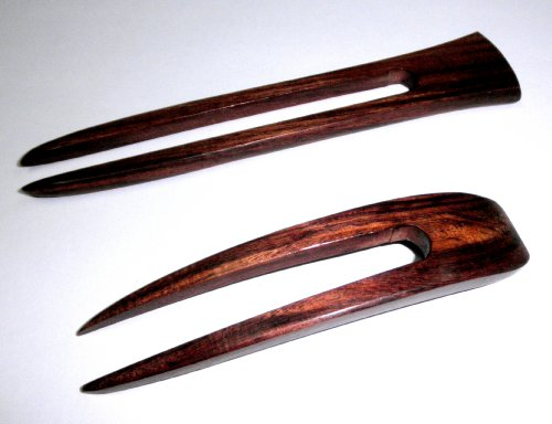 JWL (1) Rosewood Two Prong Curved 4.5 Inch & (1) Rosewood Two Prong Straight 6 Inch Hair Stick Pick Pic Pin Fork - Hawaiian Style