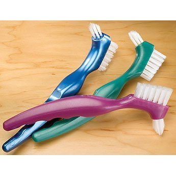 3 DENTURE toothbrush false teeth cleaning Brush ORAFIX double sided BRISTLES - 3 different colors - SINGLE (3)