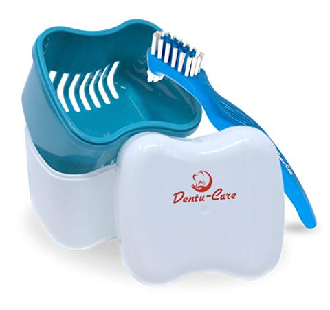 Dentu-Care Denture Case with 2 Denture Cleaning Brushes, Retainer Case with Lid and Draining Basket for Cleaning and Storing