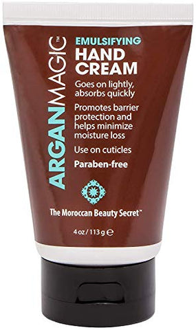 ARGAN MAGIC Emulsifying Hand Cream - Hydrating and Moisturizing Hand Cream Enriched With Argan Oil, Vitamin E, and Chamomile (4 Ounce / 113 Gram)