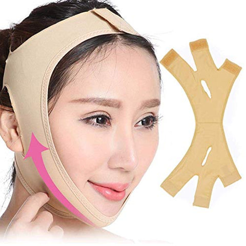 Face Lifting Slimming Belt Facial Cheek V Shape Lift Up Thin Mask Strap Face Line Smooth Breathable Compression Double Chin Reduce Bandage (L)