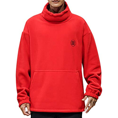 WYTong Turtleneck Sweatshirt For Men Fashion Solid Long Sleeve Pullover Casual Tops Blouse with Big Pocket(Red,XL)