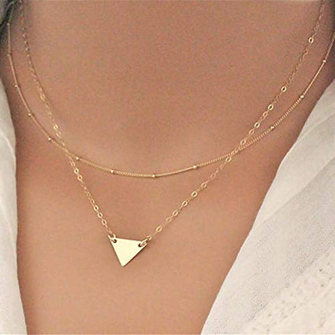 Jovono Boho Multilayered Beaded Necklaces Triangle Pendant Necklace Chain Jewelry for Women and Girls (Gold)