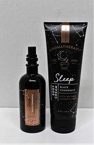Bath and Body Works Aromatherapy Sleep Black Chamomile Pillow Mist & Body Cream Gift Set