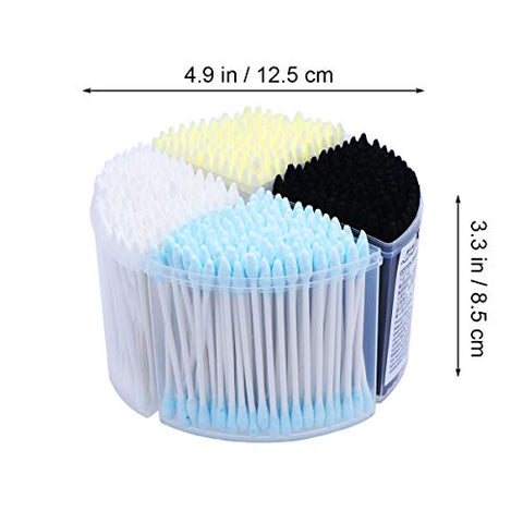 Frcolor 500pcs Disposable Cotton Swabs Double Cotton Tipped Applicator Makeup Supplies Cotton Buds with Paper Stick for Ear Cleaning (Mixed Color)