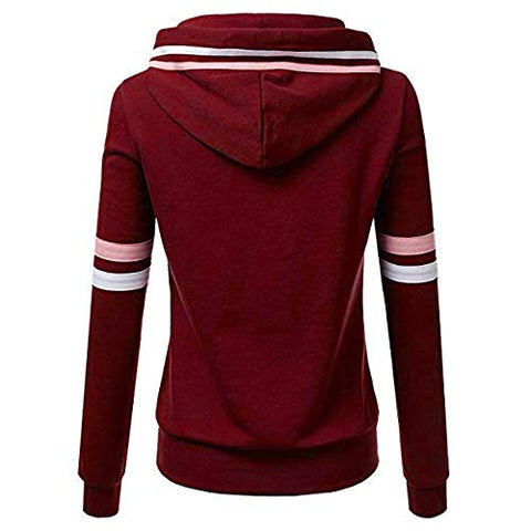 Xinantime Womens Casual Stripe Sweatshirt Long Sleeve Blouse Hooded Pocket Pullover Tops Shirt (Wine,XXXXL)