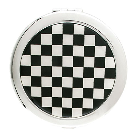 Black and White Checkered Round Compact Mirror Model No. S4968A
