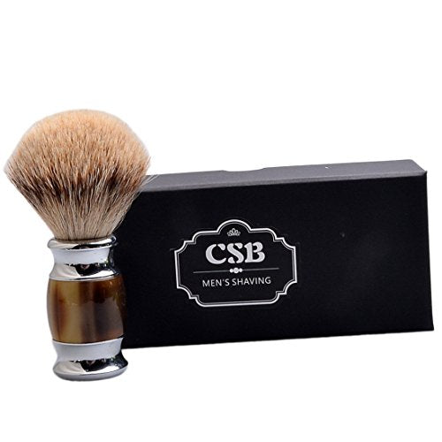 CSB Luxury Silvertip Shaving Brush with Faux Horn Handle for Men Beard Shaving