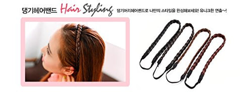 Hairpiece 1 line braiding hair Ring band for Girl, #natural brown, Korean style, Kpop style, Korean Hair style