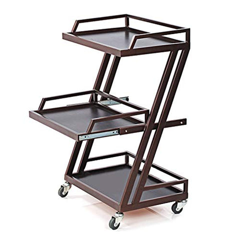 HORV Serving Bar Wine Tea Cart, 3-Tier Metal Rolling Storage Cart with Utility Handle, Small Cart, Brown