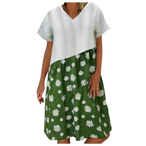 Simayixx Women's Dresses Daisy Printed Patchwork Casual Loose Tunic T-Shirt Mini Dress Holiday Beach Sundress Green