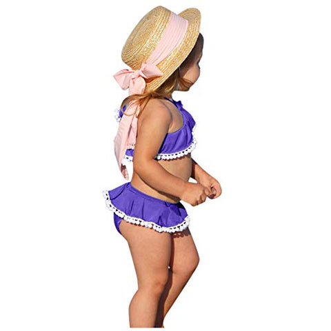 jkhhi Toddler Infant Girls Cold-Shoulder Swimwear Tops Two Pieces Bikini Shorts Ruffled Balls Tassel Beachwear Swimsuit(Purple,4-5T)