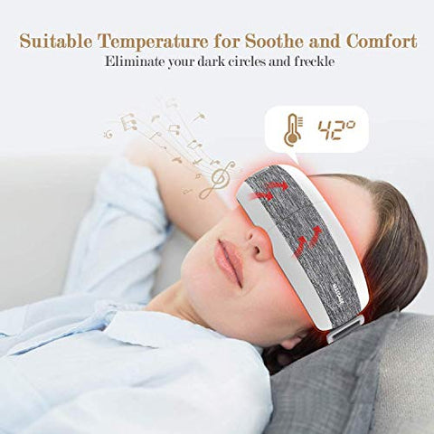 XINHUANG Eye-Massager-with-Heat-Music,Vibration,Air Pressure Electric Portable Shiatsu Massager for Dry Eyes Eyestrain Temple Headaches Fatigue Relief Therapy