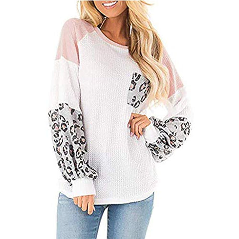Xinantime Womens Leopard Printed Long Balloon Sleeve Knit Shirts Loose Tunic Top Pullover Sweater (White,M)