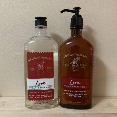 BATH AND BODY WORKS Aromatherapy - LOVE - JASMINE SANDALWOOD Gift Set Body Wash & Foam Bath and Body Lotion - Full Size