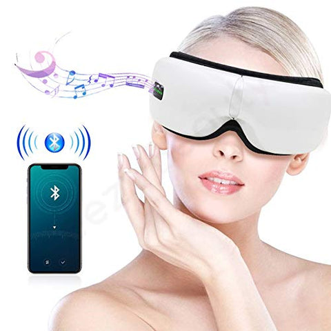 XINHUANG Eye Massager, Portable Electric Bluetooth Eye Machine with Heat, Air Pressure, Vibration, Music for Eye Fatigue, Dry Eyes and Dark Circles, Rechargeable and 180 Foldable