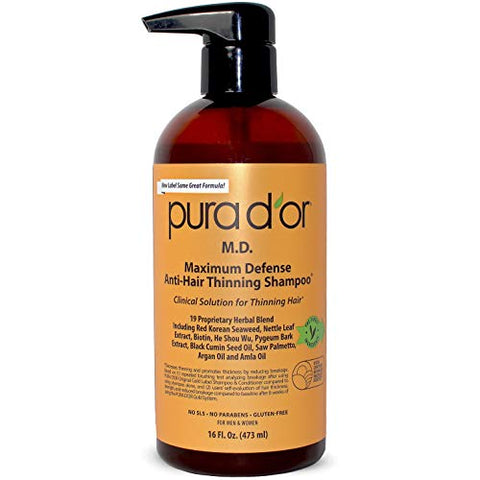 Pura Dâ??Or Anti Hair Thinning Shampoo   Dandruff & Thinning Hair 0.9% Ketoconazole & 0.5% Coal Tar,