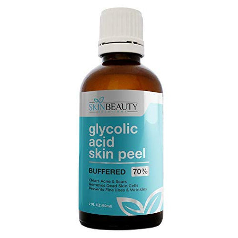 GLYCOLIC Acid 70% Skin Chemical Peel - BUFFERED - Alpha Hydroxy (AHA) For Acne, Oily Skin, Wrinkles, Blackheads, Large Pores,Dull Skin... (2oz/60ml)