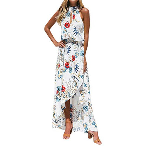 KASAAS Boho Floral Print Halter Dress for Women Asymmetrical Hem Sleeveless Evening Party Maxi Dresses(Large,White)