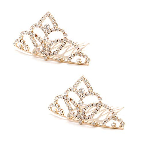Luxxii Pretty Mini Rhinestone Crystal Crown Bridal Wedding Crown Headband Comb Pin Headpiece (Pack of 2, B)