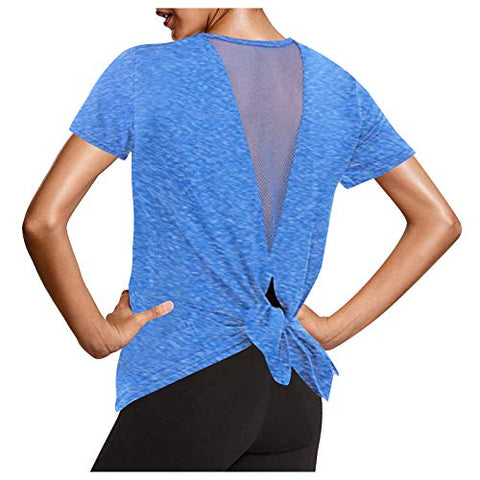 Summer Shirts Tops for Women Tie Back Yoga Workout Mesh Short Sleeve Activewear Sports Tank Tops Shirts Blue