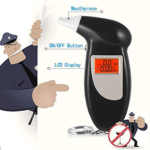 Alcohol Tester Breathalyzer Keychain, Portable Mini BAC Breathalyzer Alcohol Detector LCD Display with 5 Mouthpieces or Safety Driving