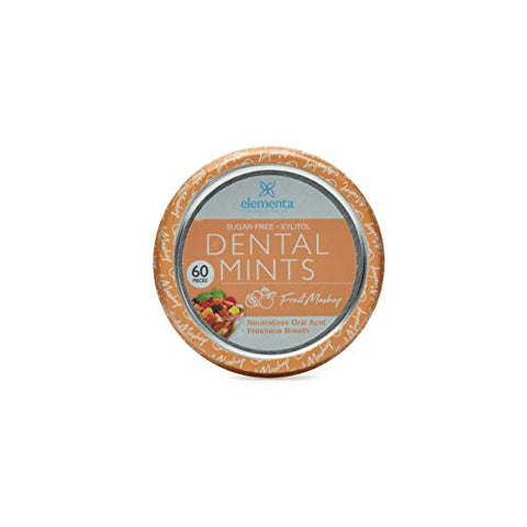 Elementa Natural Sugar Free Hard Candy Breath Mints, Low Carb with Xylitol for Improved Oral Care | Non-GMO + Vegan Friendly, Neutralizes Oral Acid, Soothes Dry Mouth | Fruit Mashup 60 Count
