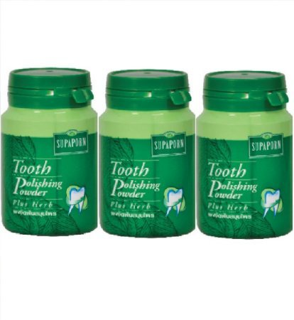 3 ?Bottles X Supaporn Toothpaste Thai Herb Tooth Polishing Powder Herb Fresh Breath 90 G.